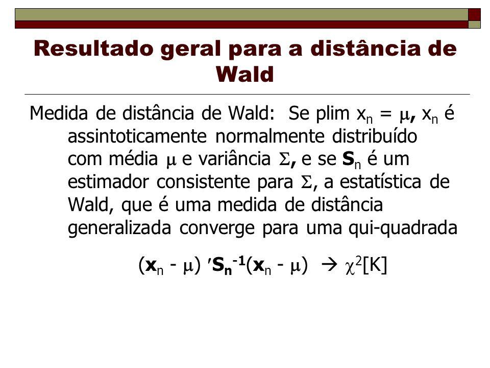 Resultado geral para a distância de Wald