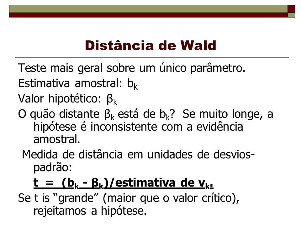 Distância de Wald Teste mais geral sobre um único parâmetro.