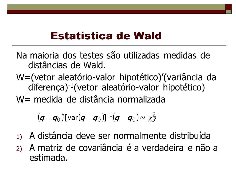 Estatística de Wald Na maioria dos testes são utilizadas medidas de distâncias de Wald.