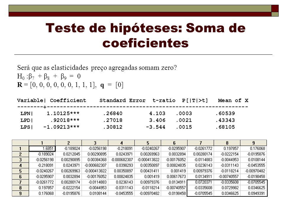 Teste de hipóteses: Soma de coeficientes