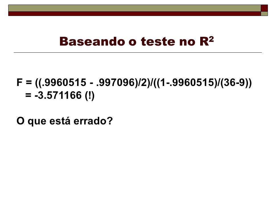 Baseando o teste no R2 F = ((.9960515 - .997096)/2)/((1-.9960515)/(36-9)) = -3.571166 (!) O que está errado