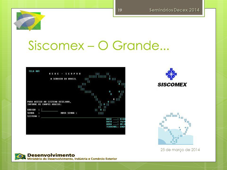 Siscomex – O Grande... Seminários Decex 2014