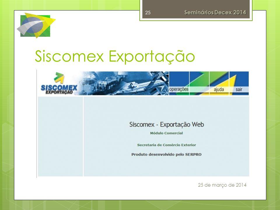 Siscomex Exportação Entrada em produção: Novembro/2010
