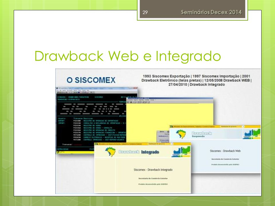 Drawback Web e Integrado