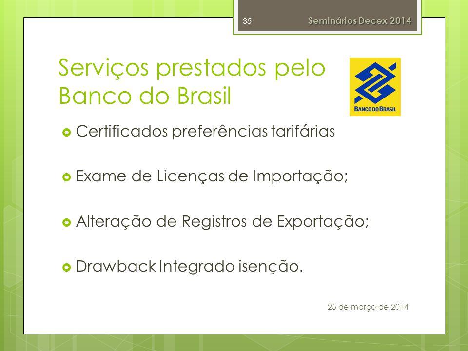 Serviços prestados pelo Banco do Brasil