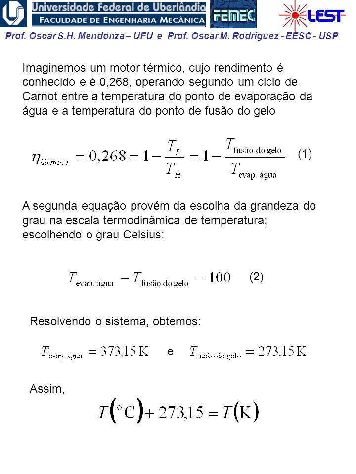 Imaginemos um motor térmico, cujo rendimento é conhecido e é 0,268, operando segundo um ciclo de Carnot entre a temperatura do ponto de evaporação da água e a temperatura do ponto de fusão do gelo