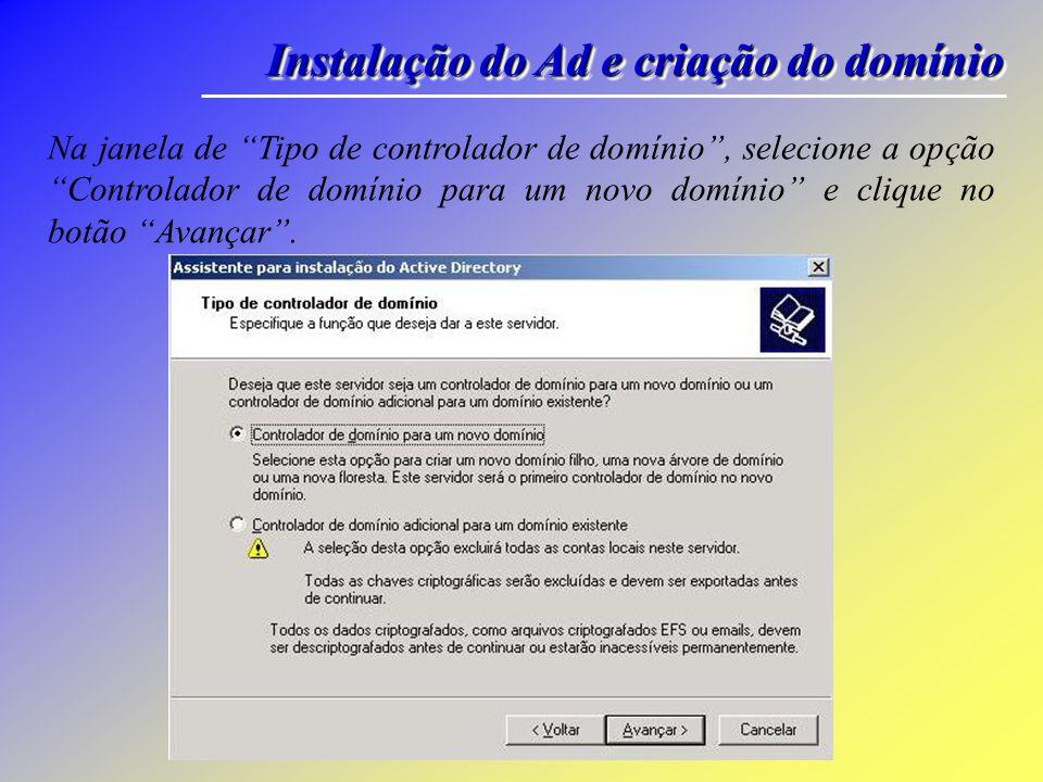 Instalação do Ad e criação do domínio