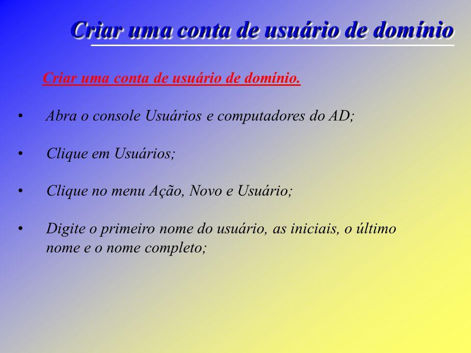 Criar uma conta de usuário de domínio