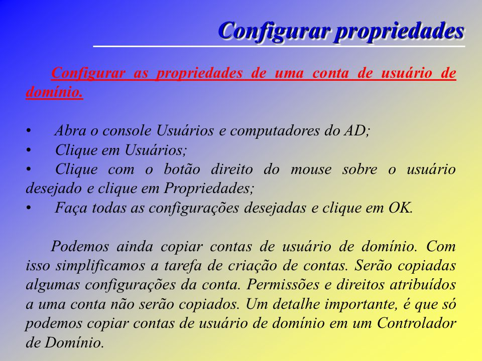 Configurar propriedades