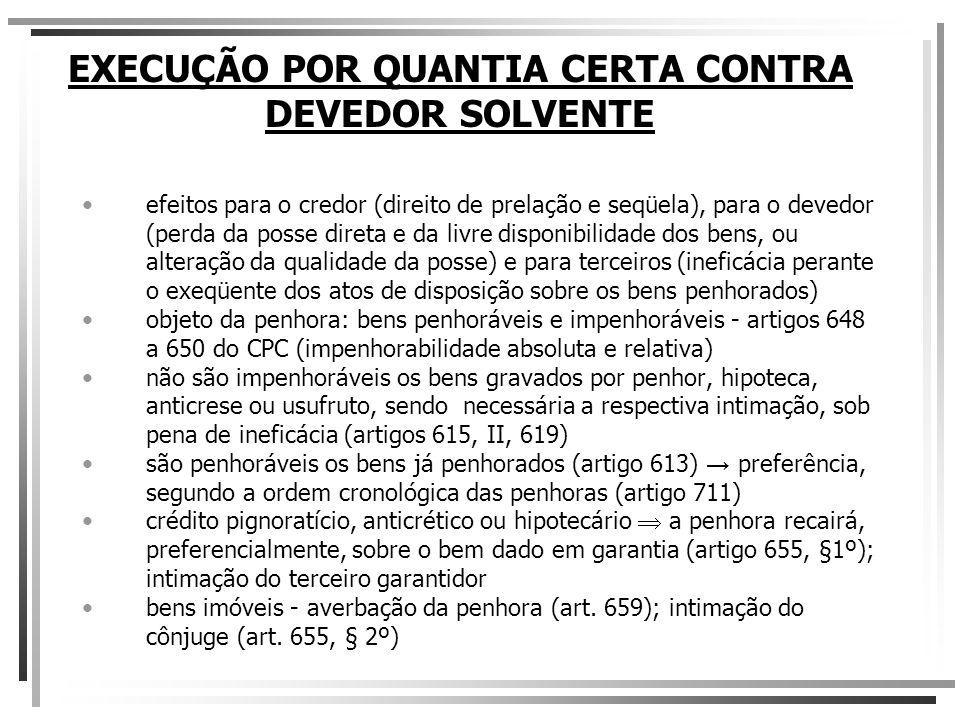 EXECUÇÃO POR QUANTIA CERTA CONTRA DEVEDOR SOLVENTE