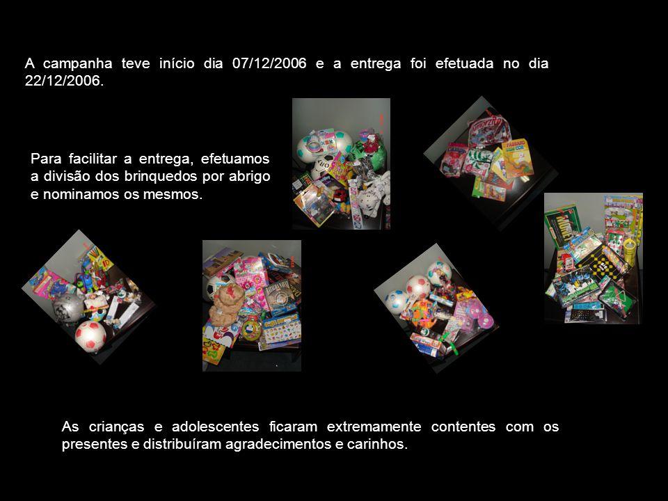 A campanha teve início dia 07/12/2006 e a entrega foi efetuada no dia 22/12/2006.