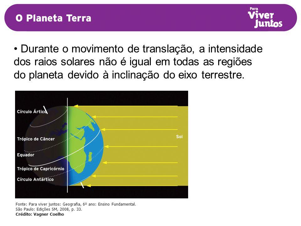 Durante o movimento de translação, a intensidade dos raios solares não é igual em todas as regiões do planeta devido à inclinação do eixo terrestre.