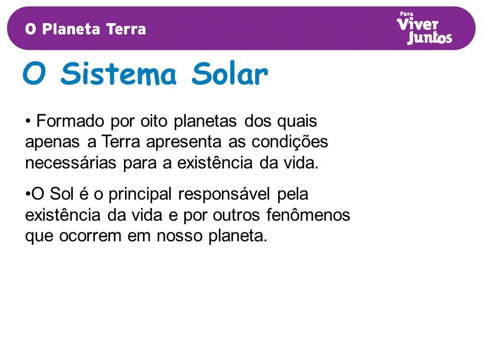 O Sistema Solar Formado por oito planetas dos quais apenas a Terra apresenta as condições necessárias para a existência da vida.