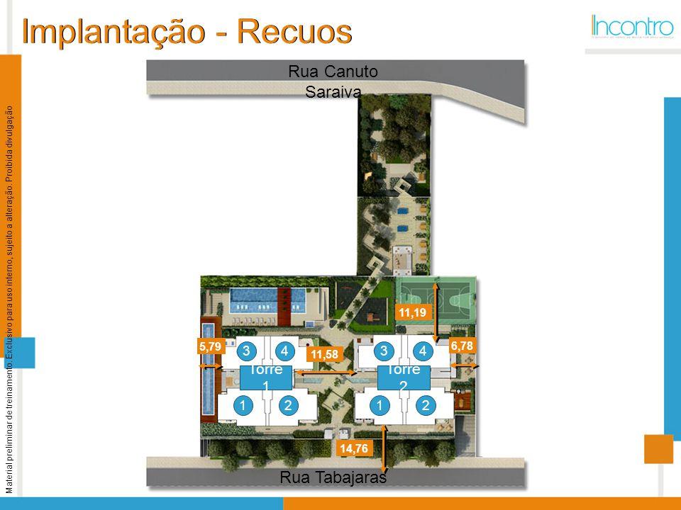 Implantação - Recuos Rua Canuto Saraiva Rua Tabajaras Torre 1 Torre 2