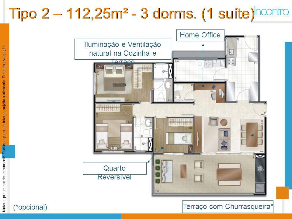 Tipo 2 – 112,25m² - 3 dorms. (1 suíte)