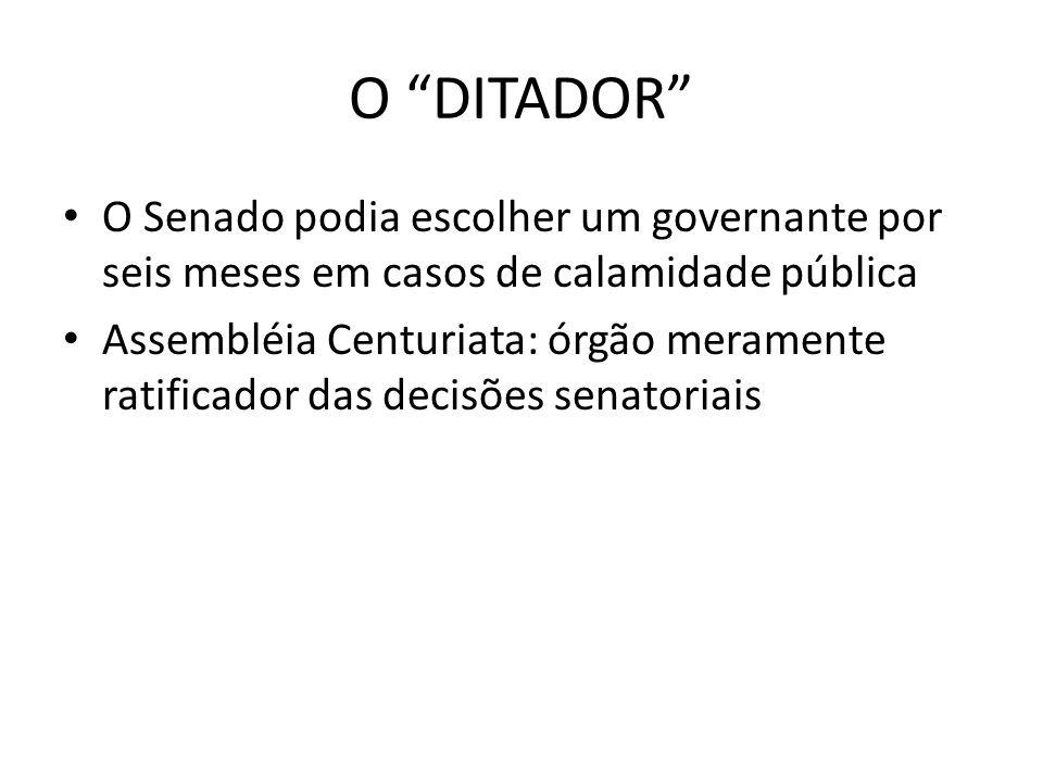 O DITADOR O Senado podia escolher um governante por seis meses em casos de calamidade pública.