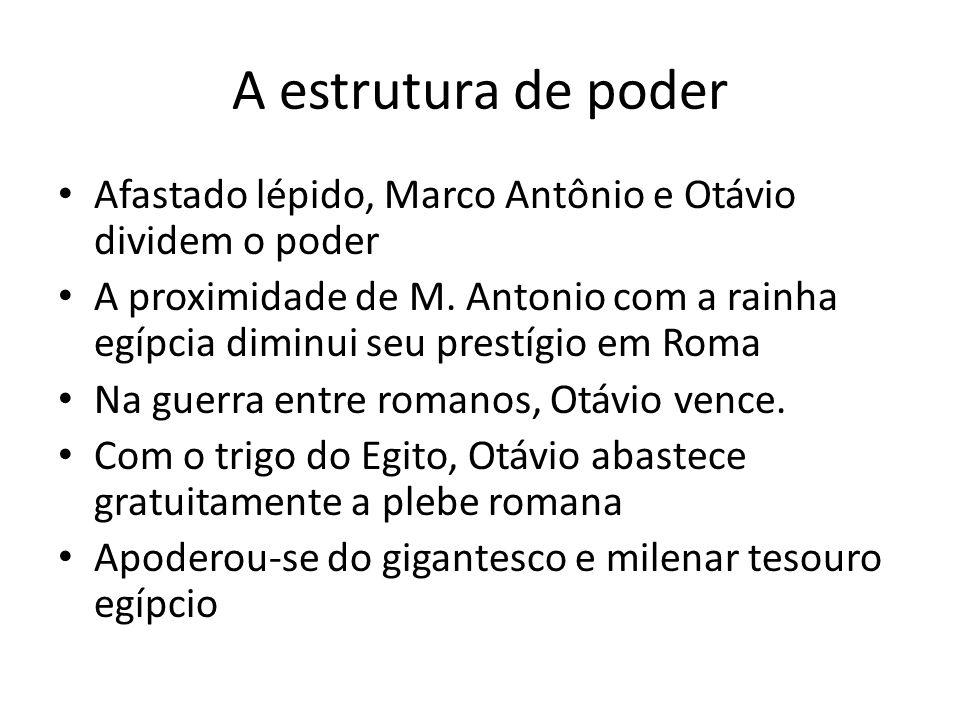 A estrutura de poder Afastado lépido, Marco Antônio e Otávio dividem o poder.