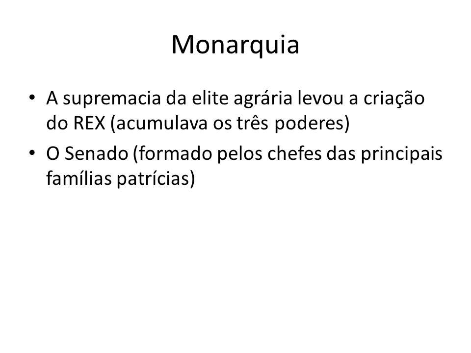 Monarquia A supremacia da elite agrária levou a criação do REX (acumulava os três poderes)