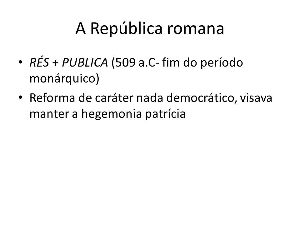 A República romana RÉS + PUBLICA (509 a.C- fim do período monárquico)