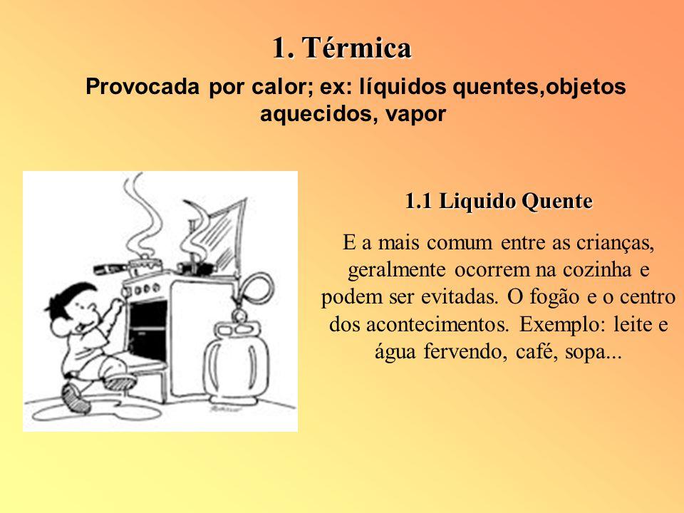 Provocada por calor; ex: líquidos quentes,objetos aquecidos, vapor