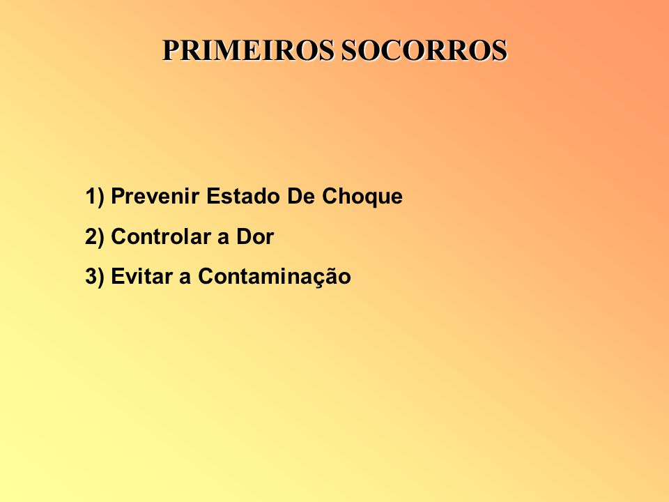 PRIMEIROS SOCORROS 1) Prevenir Estado De Choque 2) Controlar a Dor