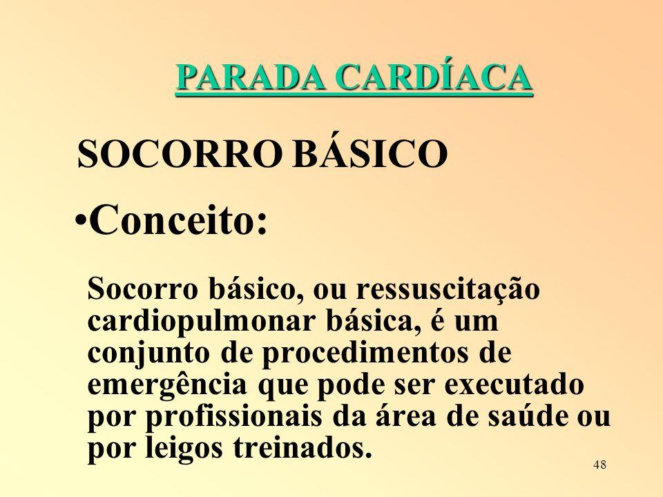 Conceito: SOCORRO BÁSICO PARADA CARDÍACA