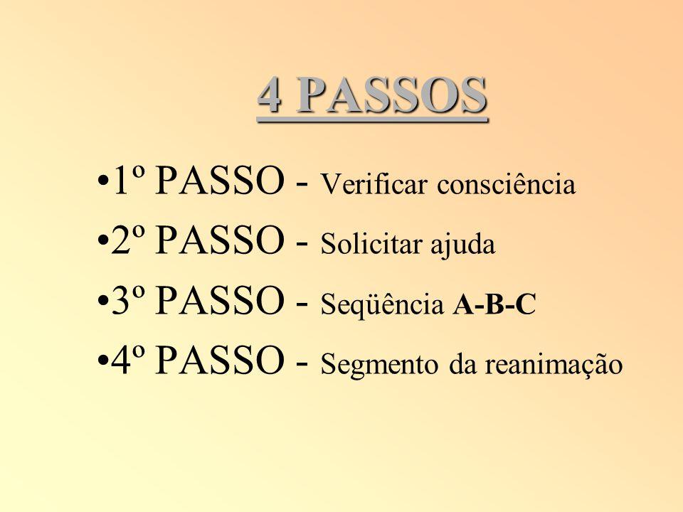 4 PASSOS 1º PASSO - Verificar consciência 2º PASSO - Solicitar ajuda
