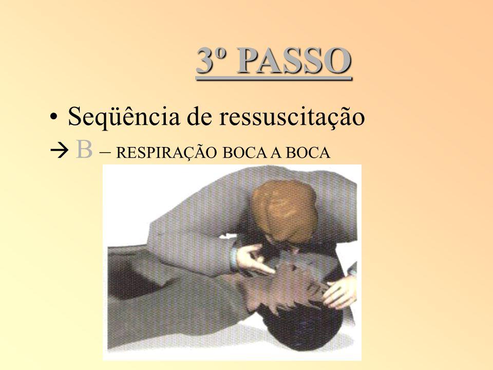 3º PASSO Seqüência de ressuscitação  B – RESPIRAÇÃO BOCA A BOCA