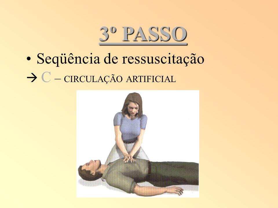 3º PASSO Seqüência de ressuscitação  C – CIRCULAÇÃO ARTIFICIAL