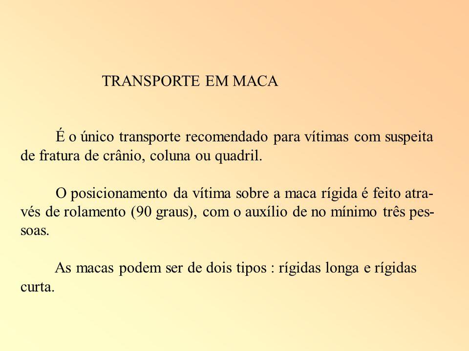 TRANSPORTE EM MACA É o único transporte recomendado para vítimas com suspeita de fratura de crânio, coluna ou quadril.