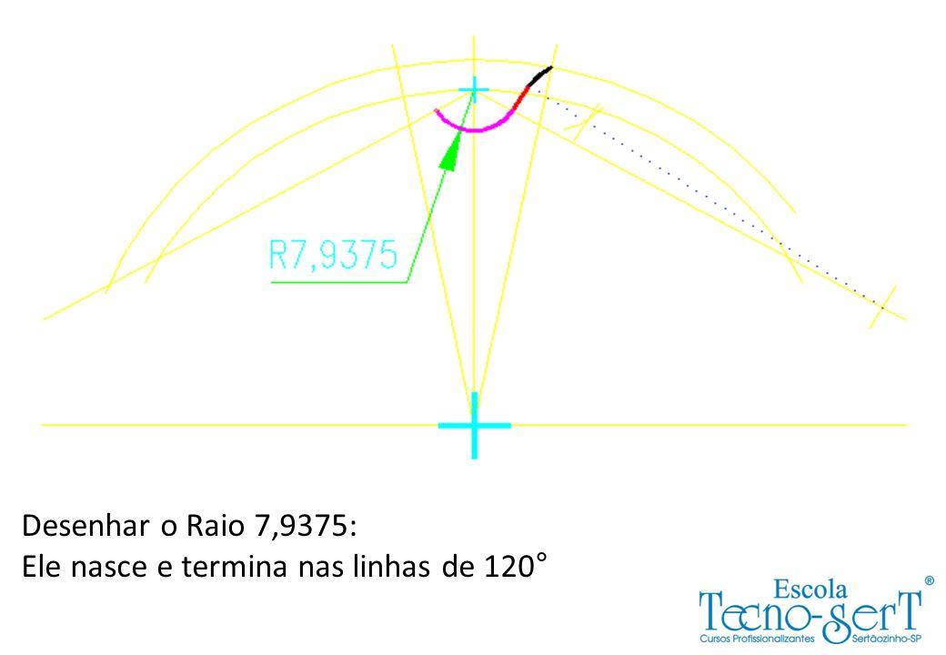 Desenhar o Raio 7,9375: Ele nasce e termina nas linhas de 120°
