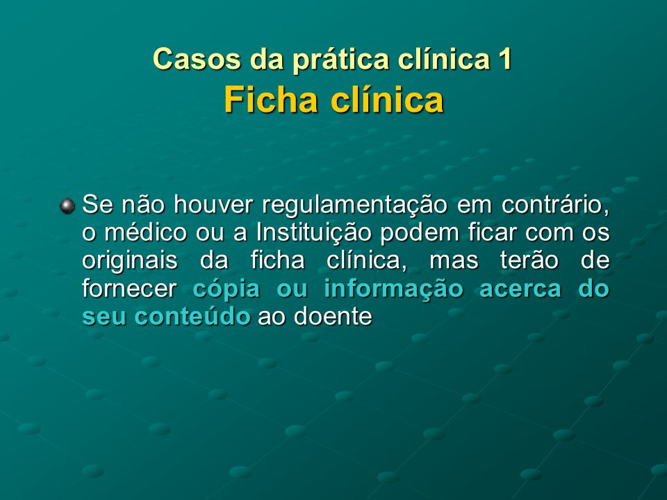 Casos da prática clínica 1 Ficha clínica
