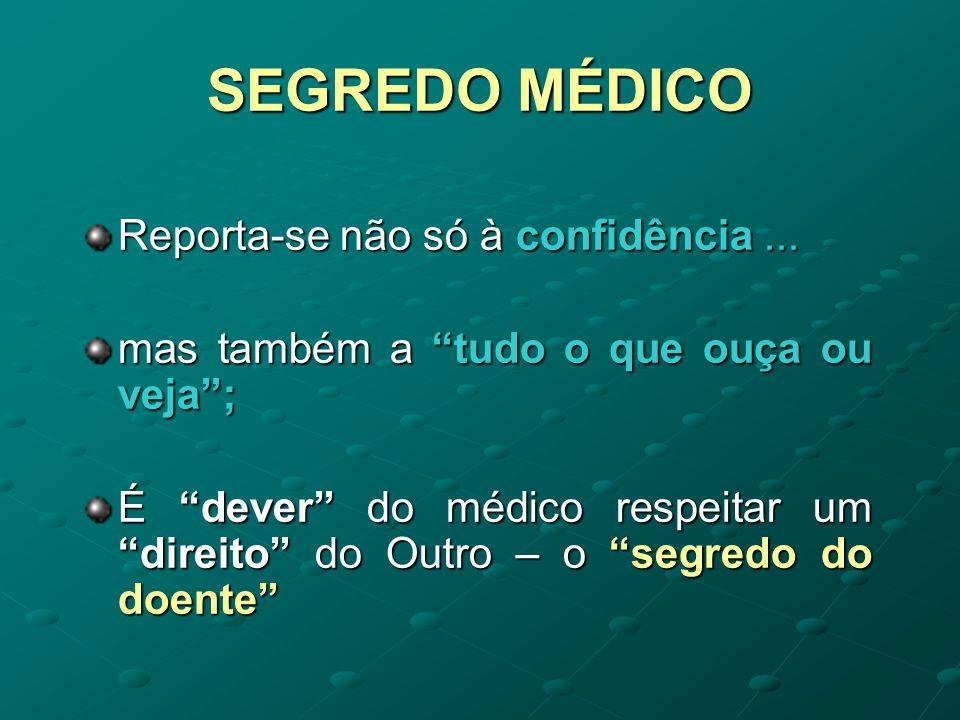 SEGREDO MÉDICO Reporta-se não só à confidência ...