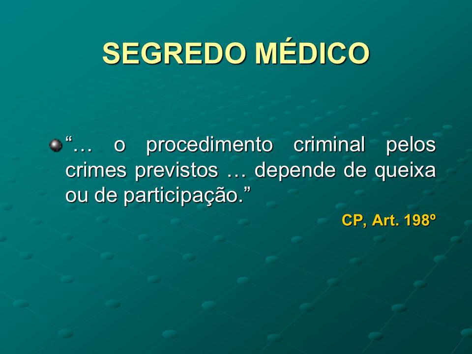 SEGREDO MÉDICO … o procedimento criminal pelos crimes previstos … depende de queixa ou de participação.