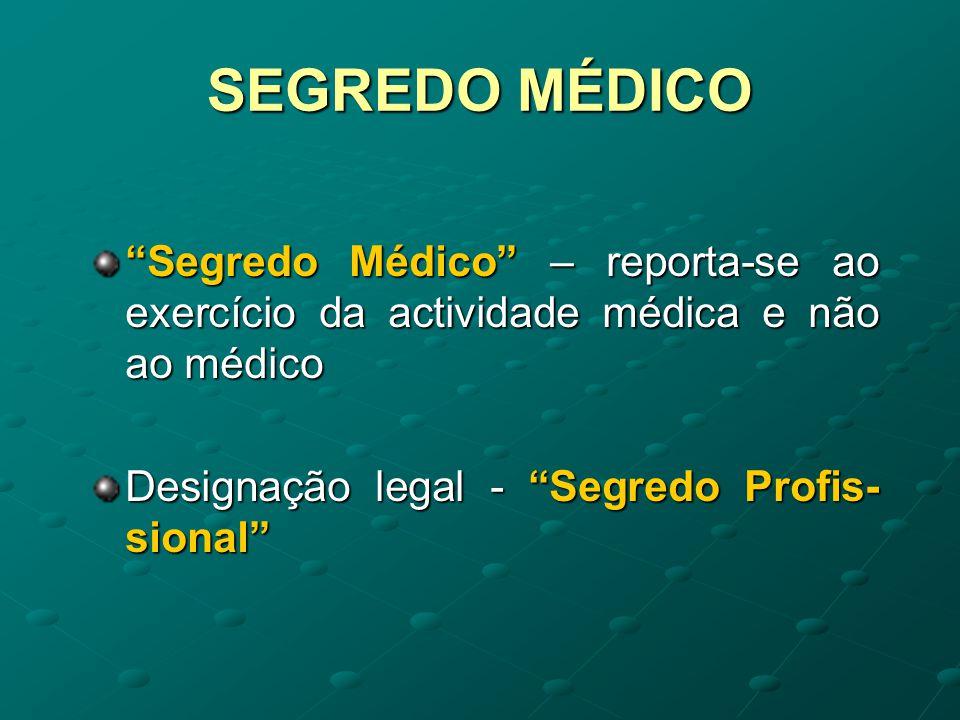 SEGREDO MÉDICO Segredo Médico – reporta-se ao exercício da actividade médica e não ao médico.
