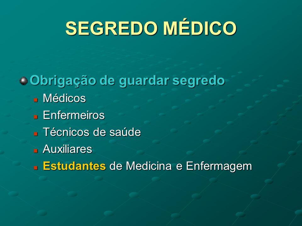 SEGREDO MÉDICO Obrigação de guardar segredo Médicos Enfermeiros
