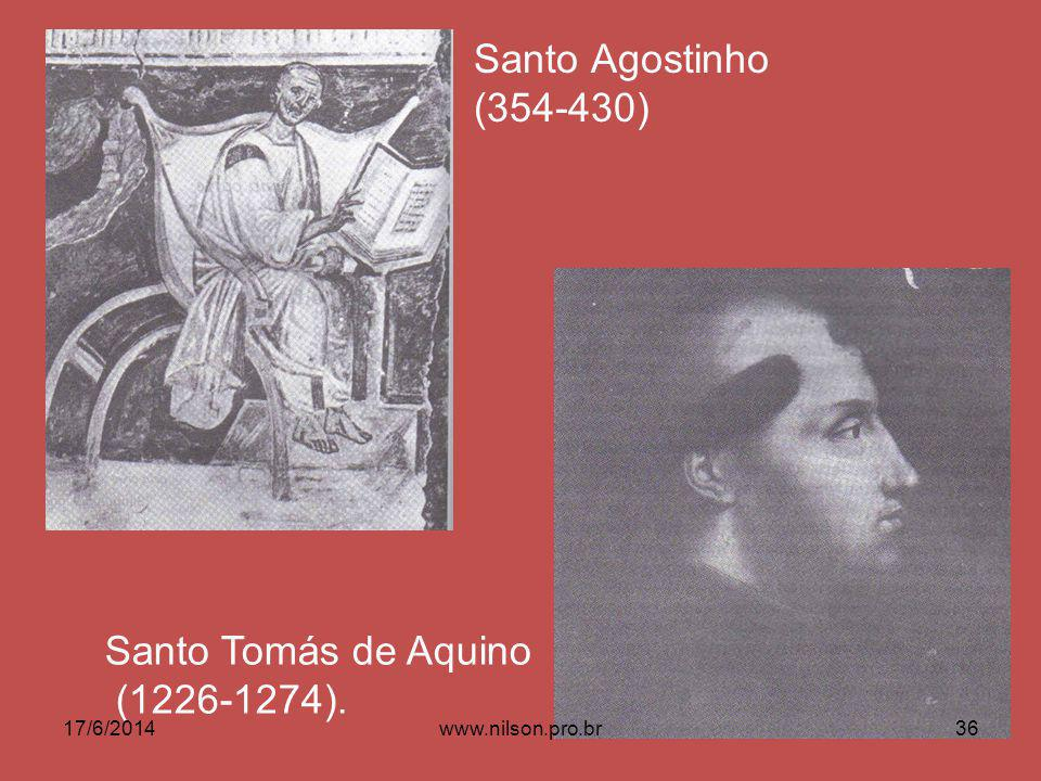 Santo Agostinho (354-430) Santo Tomás de Aquino (1226-1274).