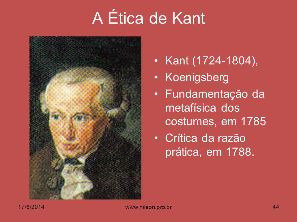 A Ética de Kant Kant (1724-1804), Koenigsberg