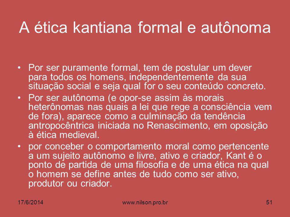 A ética kantiana formal e autônoma