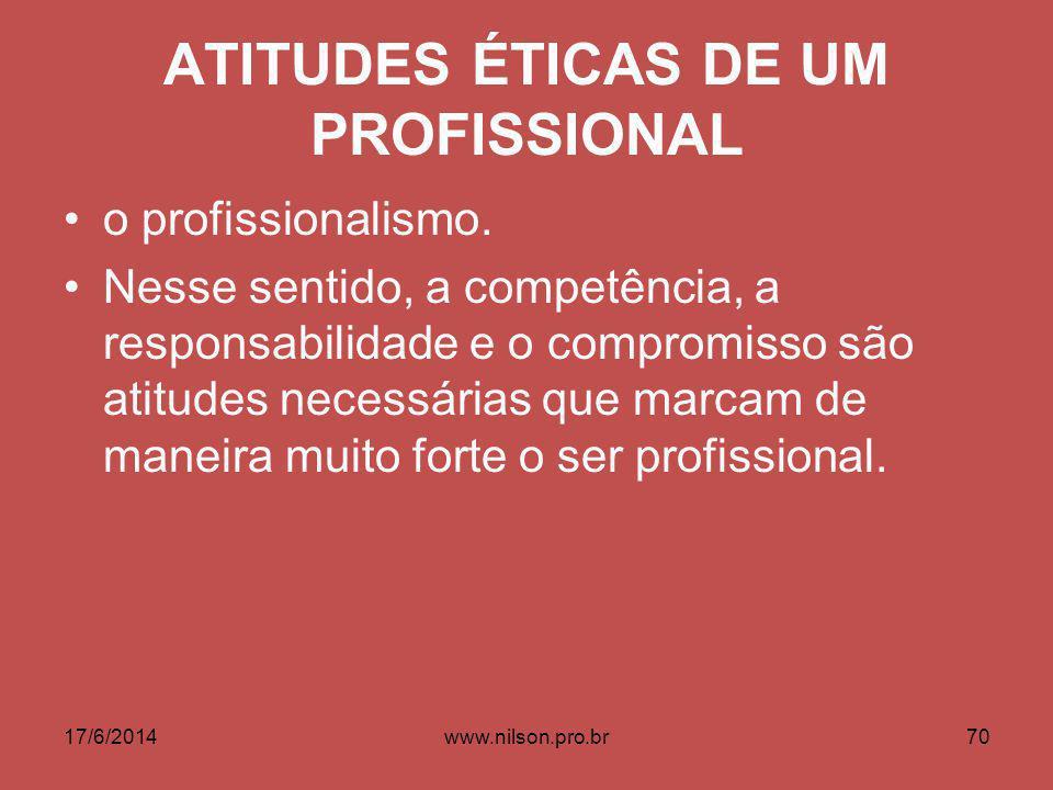 ATITUDES ÉTICAS DE UM PROFISSIONAL