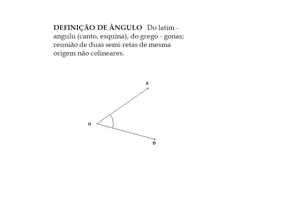 DEFINIÇÃO DE ÂNGULO Do latim - angulu (canto, esquina), do grego - gonas; reunião de duas semi-retas de mesma origem não colineares.