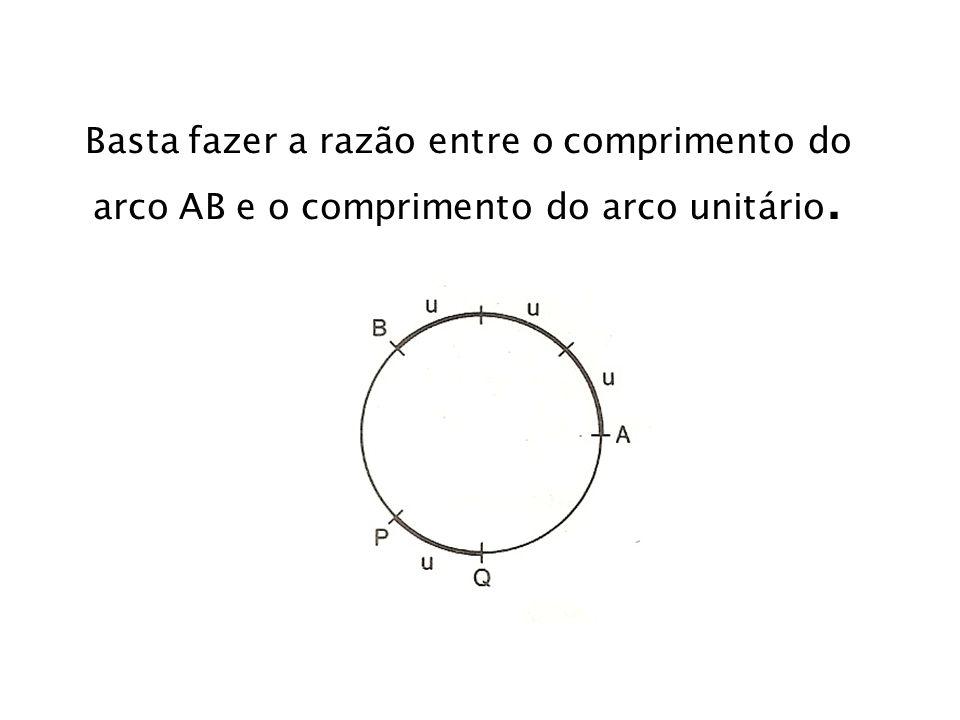 Basta fazer a razão entre o comprimento do arco AB e o comprimento do arco unitário.