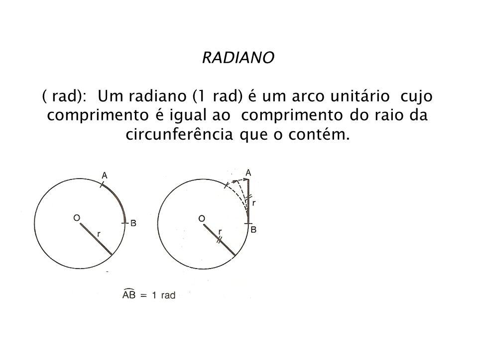 RADIANO ( rad): Um radiano (1 rad) é um arco unitário cujo comprimento é igual ao comprimento do raio da circunferência que o contém.