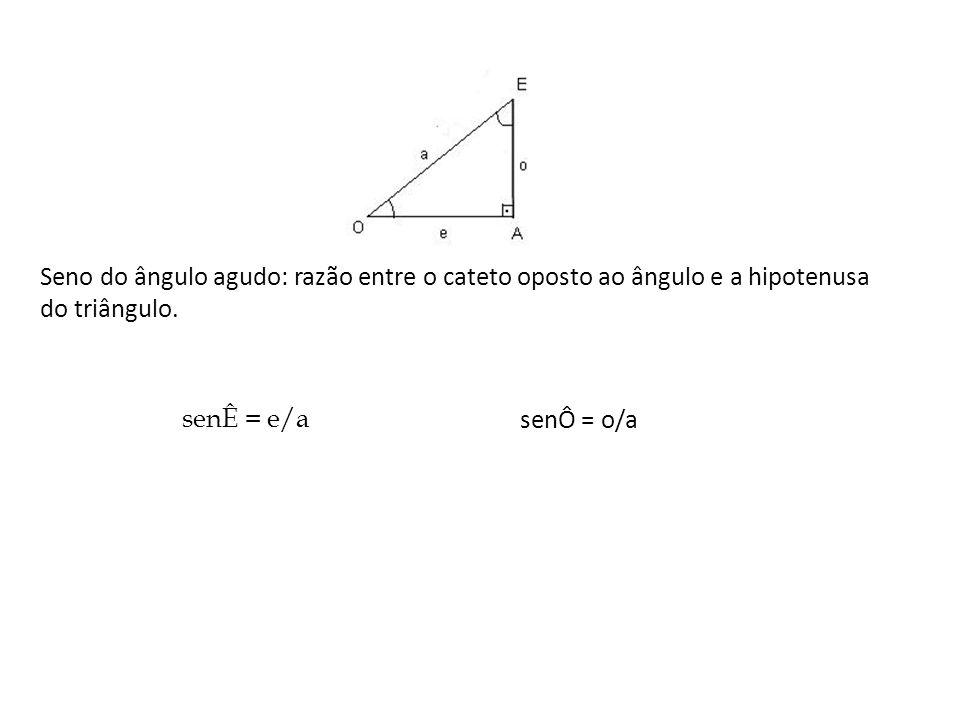 Seno do ângulo agudo: razão entre o cateto oposto ao ângulo e a hipotenusa. do triângulo.