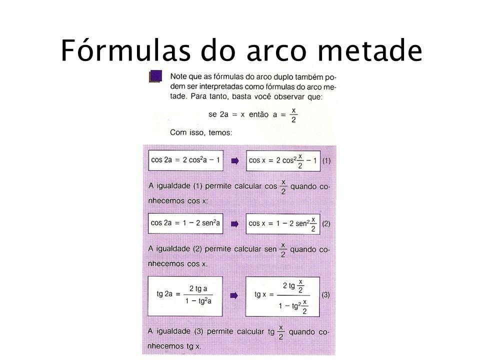 Fórmulas do arco metade