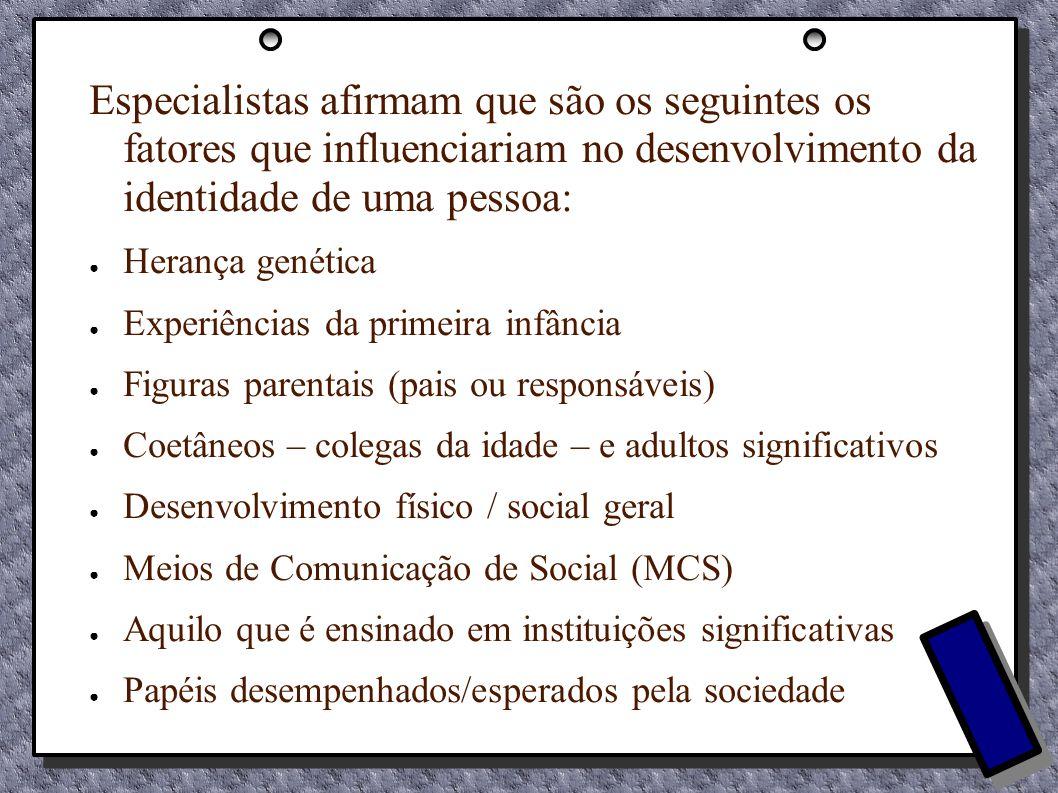 Especialistas afirmam que são os seguintes os fatores que influenciariam no desenvolvimento da identidade de uma pessoa: