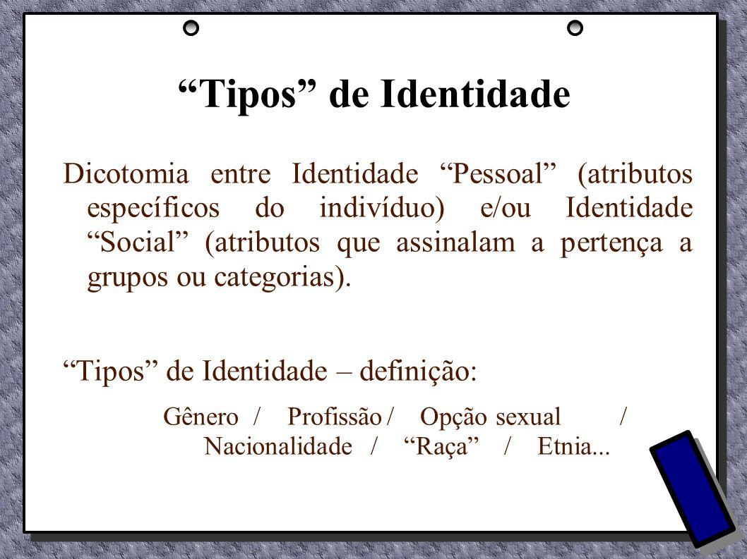 Gênero / Profissão / Opção sexual / Nacionalidade / Raça / Etnia...