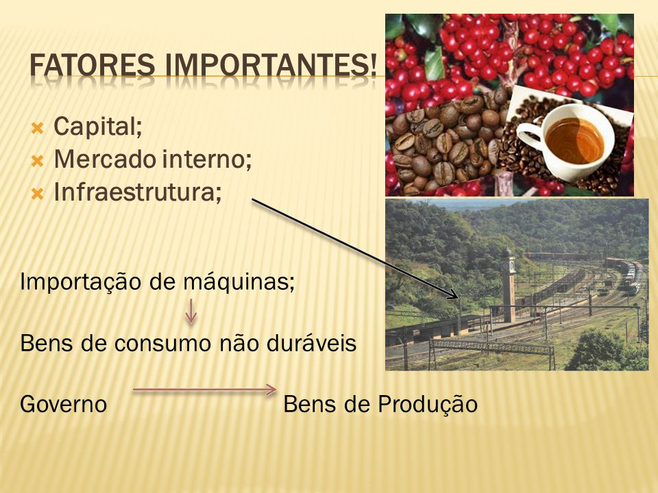 Fatores importantes! Capital; Mercado interno; Infraestrutura;