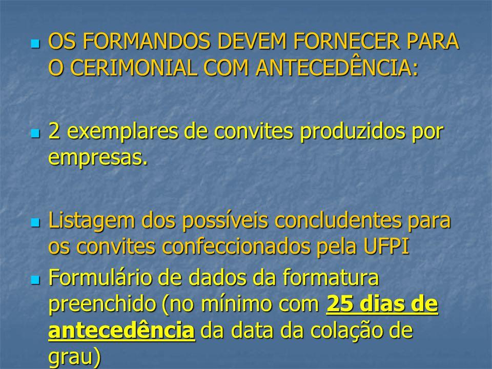 OS FORMANDOS DEVEM FORNECER PARA O CERIMONIAL COM ANTECEDÊNCIA: