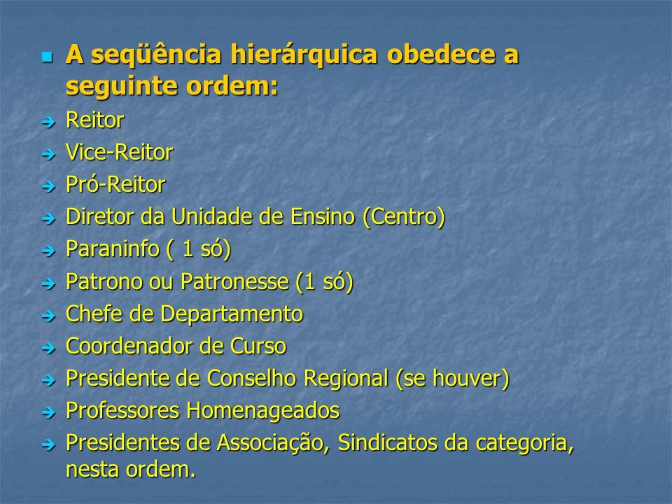 A seqüência hierárquica obedece a seguinte ordem: